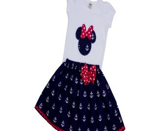 Minnie anchor outfit  Minnie nautical Minnie party outfit Minnie outfit skirt  Minnie custom name toddler Minnie skirt Disney cruise outfit