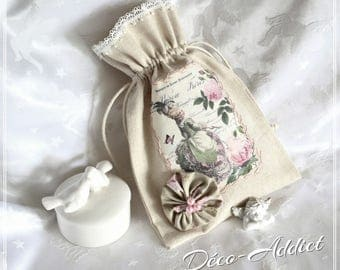 Medium or small beige cotton and its theme Marie-Antoinette