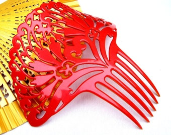 Oversized Art Deco hair comb red celluloid Spanish style hair accessory headdress headpiece hair ornament decorative comb