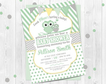 Owl Baby Shower Invitation, Gender Neutral, Green Owl Invitation, Gender Neutral Baby Shower Invitation, Baby Owl, Owl, Green and Yellow