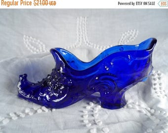 Fall Sale Mosser Glass Cobalt Blue Shoe-Blue Glass Boot-Art Glass-Mosser Glass Cambridge Ohio