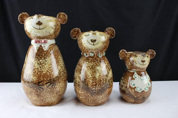 Three Bears Pitchers - Vintage Italian Art Pottery Attr. Raymor Pottery Sponge-applied