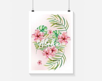 Aloha Print - Home Decor - Hippie Art Print -  Art Print - Summer Print- Floral Print- Supernatural
