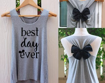Best day ever disney bow Tank Top. Racerback bow. Disney shirt. Tank Top. Disney Tank Top. Bachelorette Party Tank Top. disneyland tank