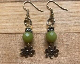 Olive jade flower drop earrings
