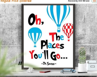 SALE Oh The Places You ll Go Poster, Dictionary Page, Printable Instant Download, Dr.Seuss Poster, Seuss Quote, Printable Quote, Nursery Dec