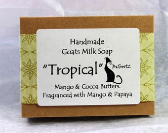 """Goats Milk Soap - """"Tropical"""" with Mango and Cocoa Butters, Fragranced with Mango and Papaya"""
