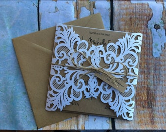 Rustic wedding invitation | laser cut wedding invites | boho wedding invites | bohemian invitation | rustic wedding invitation | lace Invite
