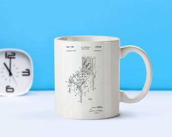 Pinball Machine patent mug - coffee mug - coffee lover - patent art - patent mug - Game Decor- Arcade Collectible- Vintage- Retro Decor-M130
