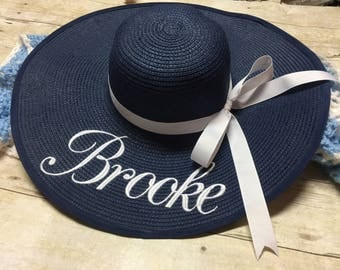 Set of 2 Monogrammed Floppy Beach Hat, Bride hat