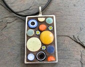 Mosaic Pendant, Mosaic Jewelry, Mosaic necklace, Mosaic Art, Ceramic Tile, Polka Dots