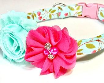 Cherry Blossoms Dog Collar ~ Girl Dog Collar ~ Custom Dog Collar