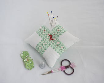 Patchwork Pincushion, Pin Cushion, Quilted,