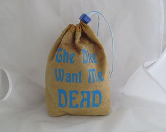 Dice Bag Pouch Velvet Dungeons and Dragons D&D RPG Role Playing Die Gold The Dice Want Me Dead Reversible Lined