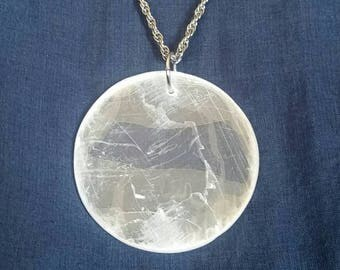 Full Moon Pendant // Selenite Crystal Necklace // Bridesmaid Gift // Crystal Jewelry // White Full Moon // Healing Stone // Gift for Her