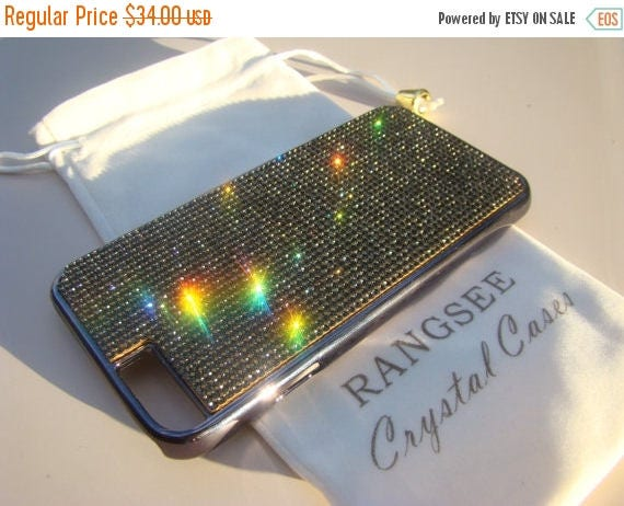 """Sale iPhone 6 / 6s Case Black Diamond Rhinstone Crystals on iPhone 6 / 6s Black Chrome Case. """" Gold Edition"""" , Genuine Rangsee Crystal Cases"""