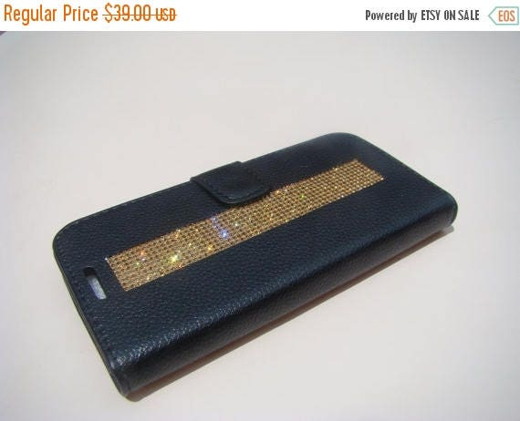 "Sale Galaxy S7  "" Edge "" Gold Topaz Rhinestone Crystals on Black Wallet Case. Velvet/Silk Pouch bag Included, Genuine Rangsee Crystal Cases."