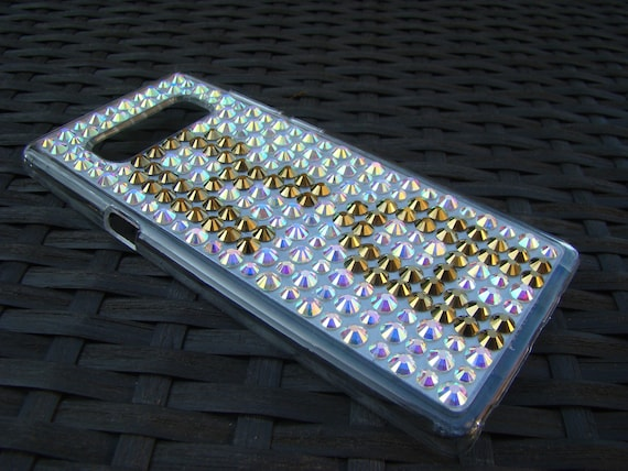 Galaxy Note 8 Case. 22 different crystal colors available! Gold 2 Letters on Crystal AB Clear Phone Case Rangsee Crystal Cases