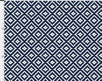 Navy Nursery Curtains / Aztec / Designer Curtains / Diamond Curtains / Blackout Curtains / Kids Curtains / Bedroom Curtains