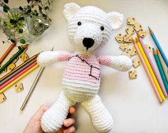 Big Dipper Teddy Bear, Teddy Bear, Ursa Major, Crochet bear, Crochet dolls, Handmade dolls, Amigurumi, Constellations, Stars, Pink