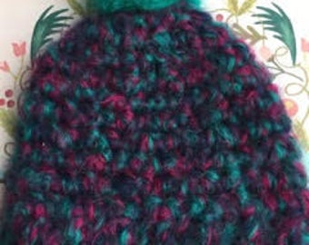 Adult Mohair Crocheted Beanie/Winter Hat with Pom