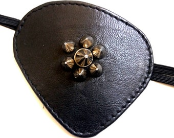 concarve Leather Eyepatch black with spikes