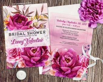 PRINTED Bridal Shower Invitation, Watercolor Bridal Shower Invite, Watercolor Floral Bridal Shower Invitation, Elegant Bridal Shower Invite