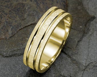 Yellow Gold Mens Wedding Ring, Brushed Mens Wedding Band, Grooved Mens Band, 6mm Wedding Band, 14k Solid Gold Mens & Women's Wedding Rings