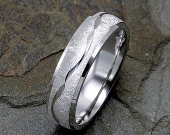 Mens Wedding Band, 14K White Gold Wedding Ring, Wave Design around the ring, Solid Gold Band, Mens Ring, White Gold Mens Ring, Custom Ring