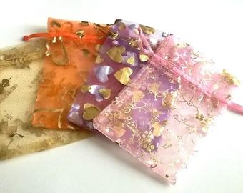 Lot 4 pockets 12 cm gift Pink Purple Gold Orange organza fabric