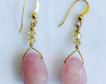 Rose quartz and Swarovski crystal gold dangle earrings