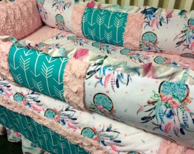 Dream Catcher Double Sided Minky Blanket- Baby Girl minky blanket
