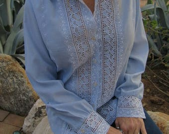 SUMMER SALE Embroidered Powder Blue and White Eyelet Blouse with Pearl Buttons