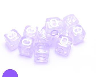 q translucent purple 6mm square BEAD