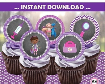 60% OFF SALE Doc McStuffins DOWNLOAD Cupcake Toppers, Doc Party, Chalkboard Doc Party, Coordinating Banner, Party Signs, Favor Tags,  avail