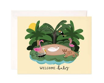 Baby Shower Card: Baby Jungle Greeting Card