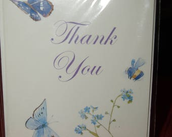 Pack of 5 Blue Butterfly Thank You Notecards and Envelopes