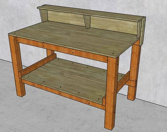 Workbench with Shelf Plans DIY Fast and Easy to build - Plywood and 2x4 wood construction