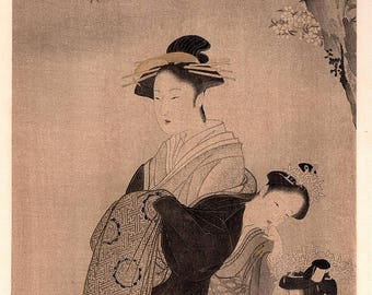 "1906, Japanese antique woodblock print, Katsukawa Shunsho, ""花下美人図"", from Ukiyoe-ha-gashu."