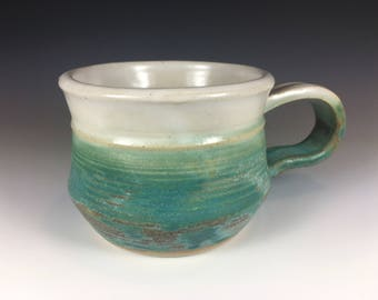 Pottery Coffee Mug, Stoneware, Ancient Turquoise and Satin White