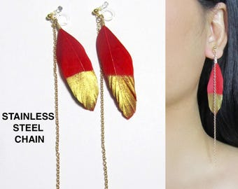 Red Feather Clip-On Earrings |36K| Gold Chain Boho Clip On Earrings, Long Dangle Clip on Earrings, Non Pierced Invisible Clip-ons Earrings