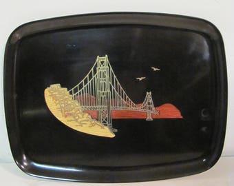 Vintage Couroc Of Monterey Tray Inlaid Golden Gate Bridge