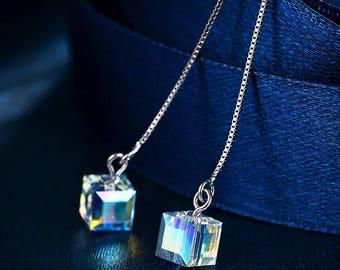 Swarovski square crystal earrings