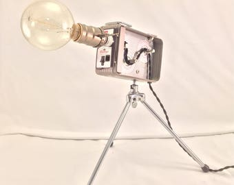Vintage Kodak Brownie 8mm Camera Lamp, Adjustable with Tripod