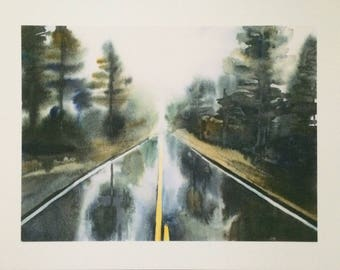 Forest painting, Misty forest, forest road, rainy day painting, Misty pine trees, watercolor trees, tree painting, tree print, pine print