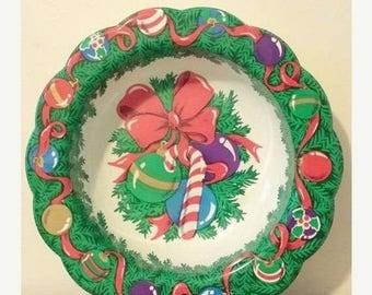 Vintage Christmas Serving Bowl,Christmas Bowl,MCM,Plastic Bowl,Christmas,Kitsch,Candy Cane,Vintage Christmas,Holiday,Kitschy,1960s