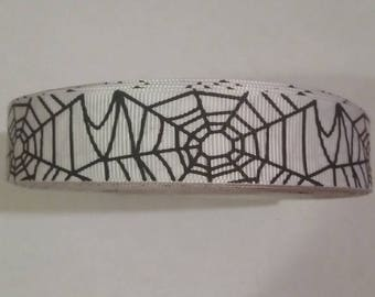 "5 Yards Halloween Spider Web Cob Webs Holiday Fall Autumn 7/8"" Grosgrain Ribbon Craft Supplies"
