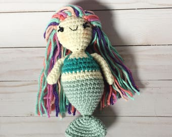 Mini Mermaid - Sea green - Crocheted - Made to Order