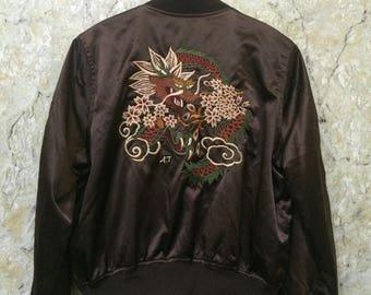 Birthday Sale Vintage Embroidered Japanese Souvenirs Sukajan Varsity Jacket Dragon Fight, Yakuza, Hip Hop Size L Rare