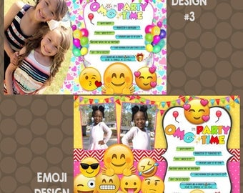 Emoji Birthday Party Invitations Text Cell Phone Photos Printable Uprint Digital Printed * 4 designs * READ DESCRIPTION